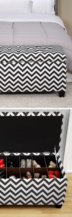 ottoman shoe storage, storage for shoes, organise shoes, storage ideas bedroom, shoe storage ottoman, bedroom organization, chevron shoes, storage benches, bedroom chevron furniture