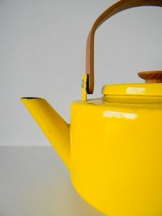 yellow tea kettle