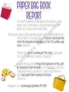 paper bag book report and rubric