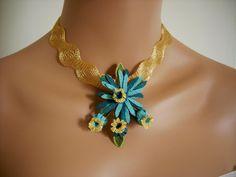 Turkish Oya needle lace turquoise yellow green by AnatolianWedding, $45.00