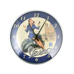 """Pin Up Blue Round Clock 12.5"""" now featured on Fab."""