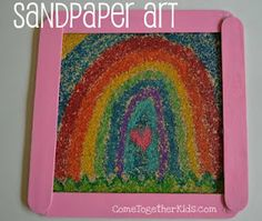 Color on sandpaper with crayon, then iron.  The result will look very similar to sand art, but without the mess.