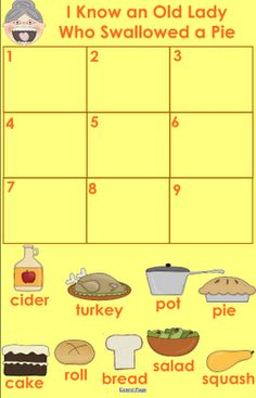 FREE: SmartBoard sequencing activity for the book I Know an Old Lady Who Swallowed a Pie!    - repinned by @PediaStaff – Please Visit ht.ly/63sNtfor all our ped therapy, school & special ed pins