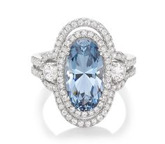 Monte Carlo Azure Ring                                       Platinum on Silver Oval Cut Ring with Aquamarine and White Stones $230