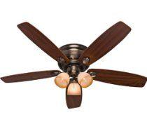 "Hunter 23908 Low Profile IV Plus - 52"" Ceiling Fan, Brushed Bronze Finish with Walnut/Dark Maple Blade Finish"