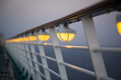 Lights line the deck on Adventure of the Seas.