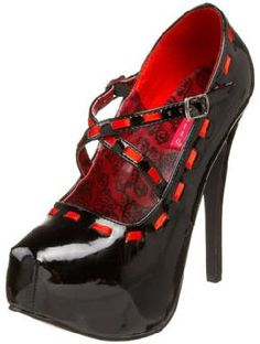 Sexy Black Red Gothic Bordello Teeze 18 Heels Pumps Mary Janes
