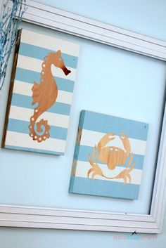 DIY wall art with wood and #sea #stencils. #seahorse