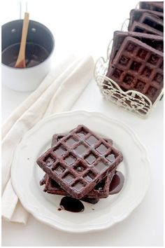 Chocolate Waffles with Nutella Espresso Sauce