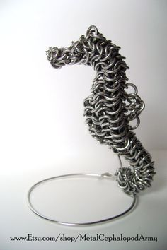 Seahorse Chainmaille Sculpture by MetalCephalopodArmy on Etsy