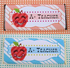 {Free Printable} A+ Teacher Candy Bar Wrappers ♥ ♥ ♥