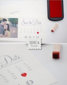 save the date with red heart stamp