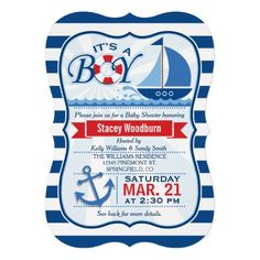 It's a boy!  Nautical, Sailboat theme boy baby shower invitation on navy blue and white stripes pattern.  Features dark and light blue sailboat sailing on wavy ocean water, red and white lifesaver, and blue boat anchor.  Colors include scarlet red, royal blue, white and sky blue.  Vintage bracket shaped invite.