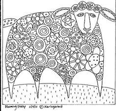 Rug Hook Paper Pattern Blooming Sheep Folk Art Abstract Unique Modern Karla G | eBay