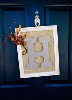 Cute framed letter door decor // The Creative Mama