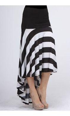 Womens Modest Striped High Low Skirt