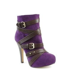 Shoehorne Ermera23 - Womens Sexy Purple Suede Bandage Boots w/ dark Brown Leather strapps, Hidden Platform High Heeled Stiletto Ankle Booties - Avail in Ladies Size 3-8 UK: Amazon.co.uk: Shoes & Accessories