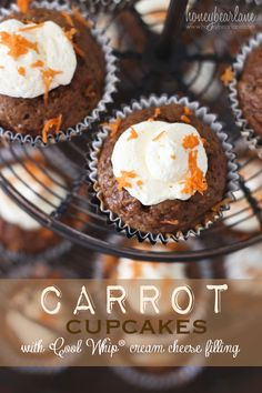 Carrot Cupcakes with Cool Whip Cream Cheese Filling #coolwhipfrosting