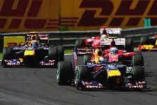 Sebastian Vettel (GER) Red Bull Racing RB6 leads Fernando Alonso (ESP) Ferrari F10 and Mark Webber (AUS) Red Bull Racing RB6 at the start of the race. Formula One World Championship, Rd 12, Hungarian Grand Prix, Race, Budapest, Hungary, Sunday, 1 August  © Sutton Images. No reproduction without permission