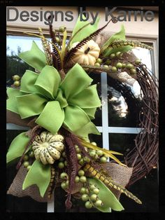 Fall wreath for my house Not Green, but love it in Browns &  Peach & Golds.