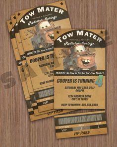 Tow Mater Ticket Invitation. $12.00, via Etsy.