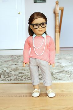 AG Isabelle's Coral Sweater with Clarisse Pants and Springfield Glasses