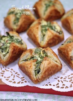 spinach bacon, chees puff, appet, olive oils, food