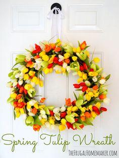 DIY:: Gorgeous Tulip Spring Wreath !! tutorial - The Frugal Homemaker