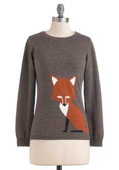Just the Fox, Ma'am Sweater by Sugarhill Boutique - Mid-length, Grey, Brown, Long Sleeve