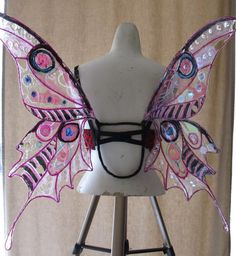 "Dark Faery Cellophane Wings- ""Kite"" shape in pink and black"