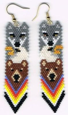 Brown Bear Eagle Gray wolf totem earrings by beadfairy1 on Etsy, $12.00
