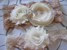 Ivory and champagne bridal garter set shabby chic by GoldcoastChic,
