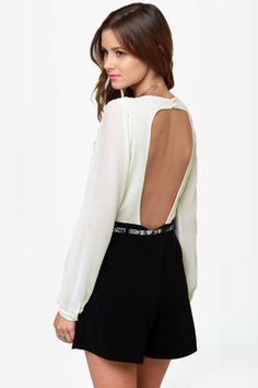 Top shelf backless cream and black romper $50