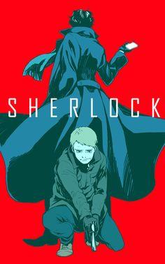 anime fan art, sherlock bbc, sherlock and john, sherlock anime, sherlock fan art