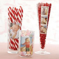 "Great way to say ""I Love You!""  Personalized Valentine's Day Gift or Decor Idea:  Photo/s in Clear Glass Vases Filled with Candy"