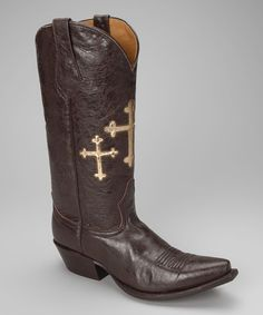 Take a look at this Barn Brown Leather T-Toe Cross Western Boot - Women by Johnny Ringo Boots on #zulily today!