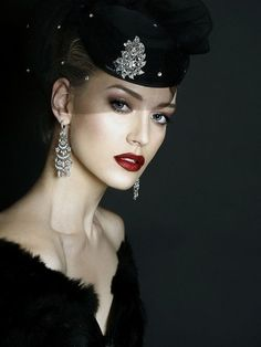 . glamour, hats, fashion, black outfits, style, makeup, red lips, beauti, evenings