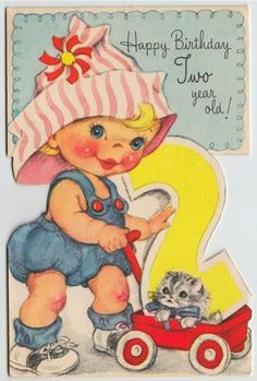 Vintage Greeting Card Girl Cat Wagon 2 Years Age Two Birthday L608 #Collectible