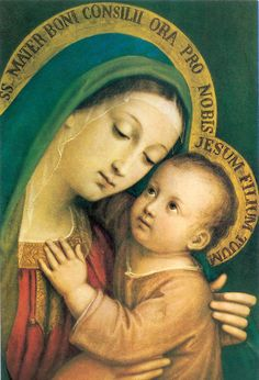 The painting of Our Mother of Good Counsel is an Eleousa, (the Mother of Tenderness).