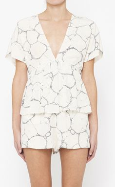 Alexander Wang White And Grey Romper