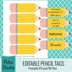Free Printable Pencil Labels for Teachers