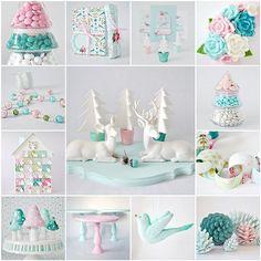 color palettes, color schemes, color combos, blue, winter wonderland, pastel christma, christmas trees, candy jars, christma pastel
