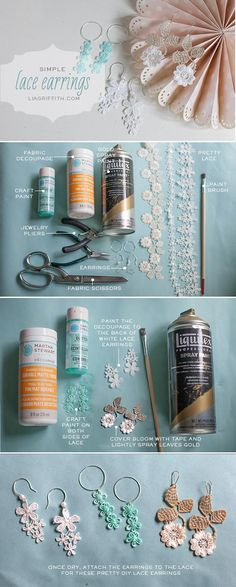 so easy and pretty... decoupaged lace earrings! cute bridesmaid gift idea or birthday gift! #marthastewart #marthastewartcrafts #diy #crafts #12Monthsofmartha #plaidcrafts