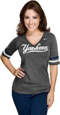 MLB Women's Nike V-Neck Fan T-Shirts - #MLB New York Yankees  http://www.fansedge.com/MLB-Womens-Nike-V-Neck-Fan-T-Shirts-_-1625935800_PG.html?social=pinterest_mlb_nikev