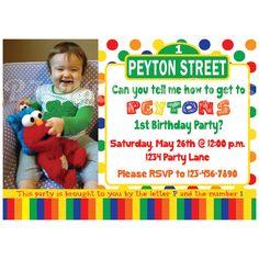 Sesame Street Birthday Invitation, Primary Colors - Custom Digital File. $9.50, via Etsy.