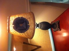 Burlap lampshade with flower.