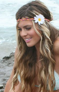 pretty long hair colorful braid with flower