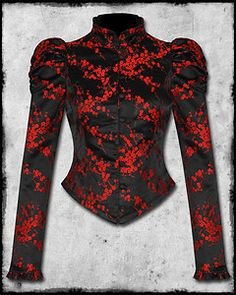 £48.99 HELL BUNNY BLACK RED SATIN CHINESE FLOWER GOTH STEAMPUNK ROSEANNA CORSET JACKET
