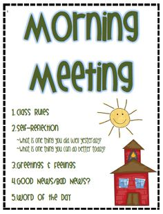 Great format for Morning Meetings -3rd Grade Thoughts: Morning Meeting & YouTube Inspiration