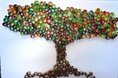 Bottle top art, toilet paper tubes